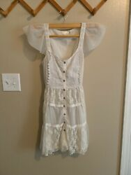 Luluvia Embroidered Free Bohemian Small White Cotton Dress Lace XS People S 0