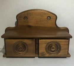 Vintage Wooden Apothecary Spice Wall Hanging Cabinet Wood Rack Signed Pa Richard