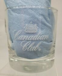 Canadian Club Whisky Rocks Highball Glass Smooth Bottom Frosted Logo Set 2
