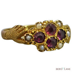 Antique Victorian 15ct Gold Fede Garnet And Seed Pearl Cluster Ring, Size 8 Or P+