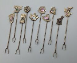 Set Of 10 Vintage Mexico Silver Hors Dand039oeuvres Picks Abalone Figural Old Mexican