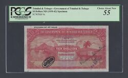 Trinidad And Tobago 10 Dollars 20-5-1942 P9s Specimen Tdlr About Uncirculated