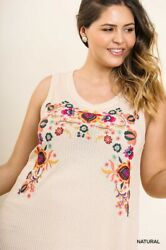 Xl Plus Gigio By Umgee Natural Waffle Knit Floral Embroidered Dress/tunic Bhcs