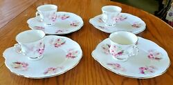 4 Elizabethan Fine Bone China England Roses Pattern Snack Plates And Tea Cups