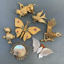 Vintage Butterfly Birds Pin Brooch Collection Lot Of 7