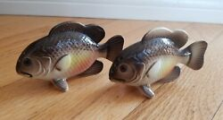 Vintage Relco Hand Painted Rock Bass Fish Salt And Pepper Shakers