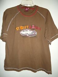 Juice Racing Brown T Shirt street illegal white mustang patch design Size L $3.99