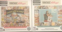 2 New - Vintage Kelloggs 1000 Pc Jigsaw Puzzles- Cereal Boxes And Advertisements