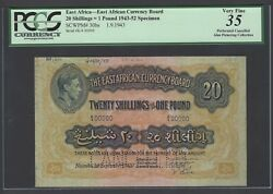 East Africa 20 Shilling- One Pound 1-9-1943 P30bs Specimen Very Fine