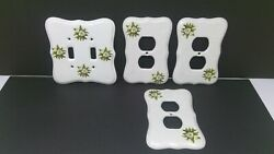 Set Of 4 Vintage Athena Ceramic Light Switch 1 And Outlet 3 Plates / Covers