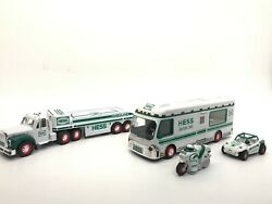 Lot Of 2 Hess Vintage Gasoline Trucks 1998 2002 Wb Motorcycle And Racer