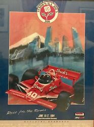 1984 Indy Car Gi Joes 200 Official First Print Poster Signed By Drivers 19andrdquo X 25