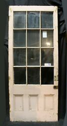 37x90x1.75 Antique Vintage Exterior Wood Wooden French Entry Door Window Glass