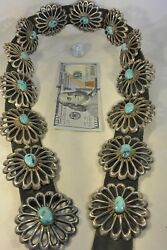 Xl 26+ozt Navajo Concho Belt 13 Tufa Sand Cast Sterling Silver Turquoise Buckle