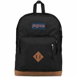 NWT JANSPORT City View Backpack Leather Bottom BLACK Free Shipping $36.99