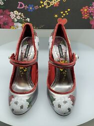 Dolce & Gabbana Silver Leather Hand Painted Floral Mary Jane Pumps Size 41 - NEW