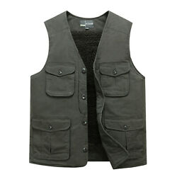 Mens Multi Pocketed Vest Waistcoat Add Cashmere Lined Bodywarmer Fortress Warm