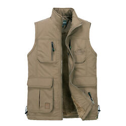 Mens Multi Pocketed Vest Waistcoat Cashmere Lined Bodywarmer Fortress Warm Work