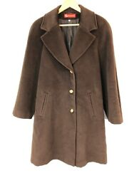 PIACENZA WOOL TRENCH COAT size UK 14  I 46 MADE IN ITALY DARK BROWN Jacket Over