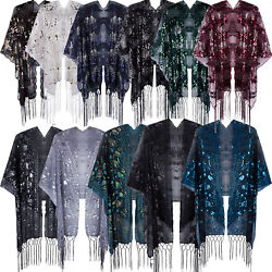 Gatsby Bridal Wedding Shrugs Evening For Women#x27;s 1920s Sequin Shawls Wraps Cape $13.40
