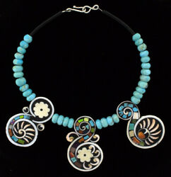 3 Multi-stone Inlay Tabs Hung On A Turquoise Bead And Jet Heishi Necklace