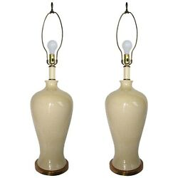 Mid-century Modern Lamps In Cream Porcelain With Crackle Finish