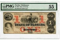 1863 5 State Of Florida Tallahassee Note Currency Paper Money Flcr19 Au55 6008