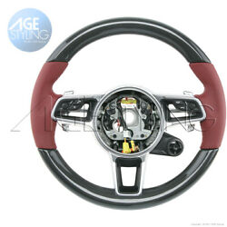 Porsche 991 Gts Cayman 718 Boxster Carbon Bordeaux Red Leather Steering Wheel