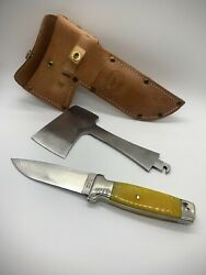 Moore Maker Trapper 5101ax Knife/axe - Yellow Bone - From Queen Cutlery Factory