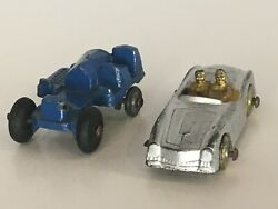 Vintage Slush Toy Car And Tractor Lot 2 Antique Metal Barclay Silver Gold Driver