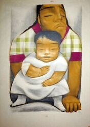 1934 Mexican Modernist Giant Print Mother And Child By Jean Charlot Mod