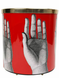Fornasetti Black And Red Hands Wastepaper Basket New