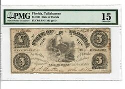 1861 5 Tallahassee State Of Fl Civil War Obsolete Currency Flcr6 Pmg Cf15 Fine
