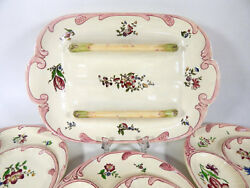 13 French Vintage Majolica Asparagus Plates And Server From Sarreguemines