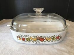 """Vintage Rare Corning Ware A-10-b Le Romarine 9 3/4"""" Lid A-12-c Spice Of Life"""