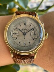 Eberhard Monopusher Watch Chronograph Solid Gold 18k Mens 40mm Swiss Made