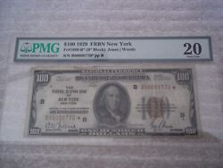 1929 100 Star Note New York B Federal Reserve Frbn Low Serial J00000770