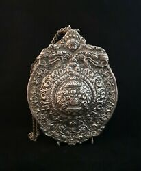Rare Antique Powder Flask, 18th Century Russian Silver Plated Powder Flask