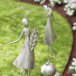 Set Whimsical Girl Outdoor Statues Garden Sculpture Antiqued Silver Metal