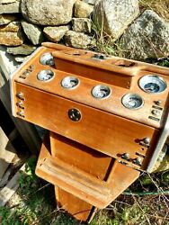 Wooden Shipand039s Helm Pedestal With Gauge Cluster From A Classic Cabin Cruiser