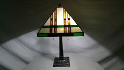 Vintage Style Mission Stained Glass Shade On 2-socket Metal Base Lamp