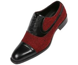Bolano Mens BlackRed Herringbone & Black Smooth Cap-Toe Oxford : Thoreau-212