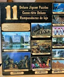 Box Set Of 11 Deluxe Jigsaw Puzzles Nature Animals Castle Sealed Bags Inside