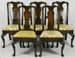Set Of 5 Sacks Marlboro Manner Queen Anne Mahogany Dining Room Chairs