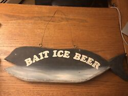 Vintage Adirondack Bait Ice Beer Hand Carved Fishing Tackle Store Sign Kycia