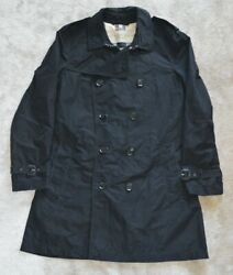 Black Double Breasted Trench Coat Mac Jacket Mens Size Extra Large Xl
