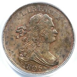 1806 C-1 Pcgs Ms 63 Bn Small 6 No Stems Draped Bust Half Cent Coin 1/2c