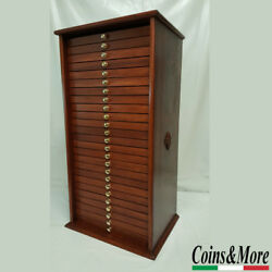 Money Chest Medals Table 25 Drawer Coinsandmore Coin Cabinet Handmade In Mahogany