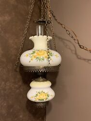 Vtg 36andrdquo Hanging Swag Gone With The Wind Hurricane Victorian Lamp Yellow Rose