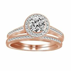 0.74ct Round Diamond 14k Rose Gold His Hers Matching Engagement And Band Rings